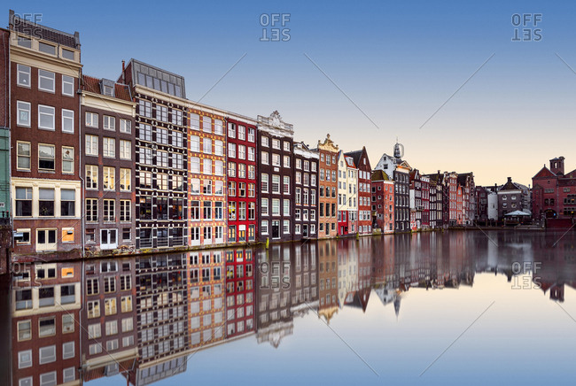 Row of houses along canal, Amsterdam, Holland
