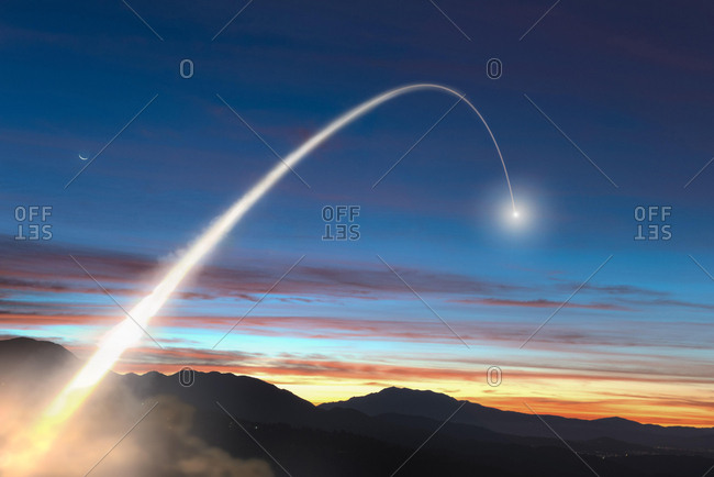 Missile launched into the morning sky