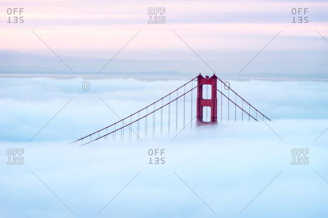 Golden Gate Bridge through fog, San Francisco, California, America, USA