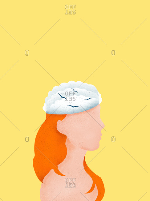 Portrait of a woman with clouds and birds in her head