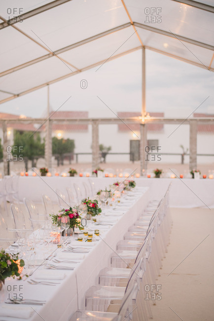 Beautiful decor and tables at a wedding reception
