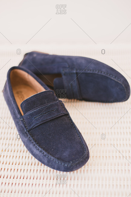 Blue suede groom's loafers
