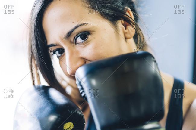 Portrait of a confident female boxer