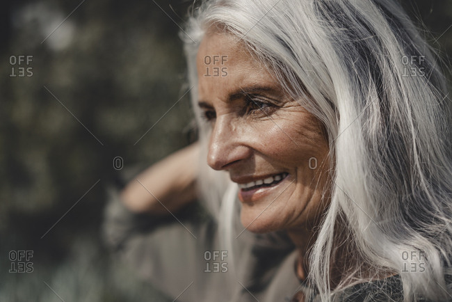 Portrait of a beautiful- white haired senior woman