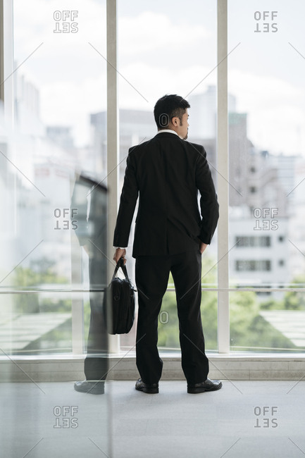 Rear view of young businessman looking out of window