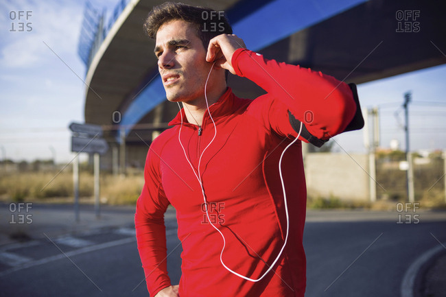 Jogger listening to music