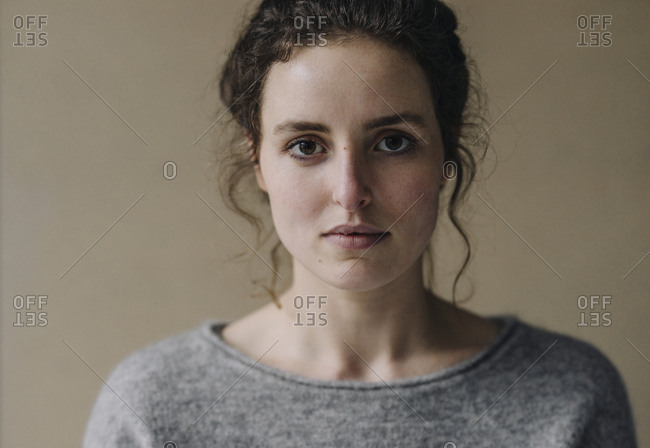 Portrait of serious young woman