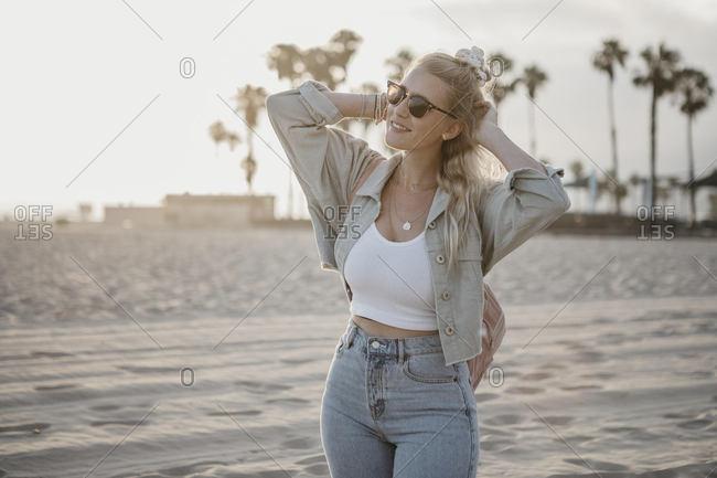 Happy young woman on the beach- Venice Beach- California- USA