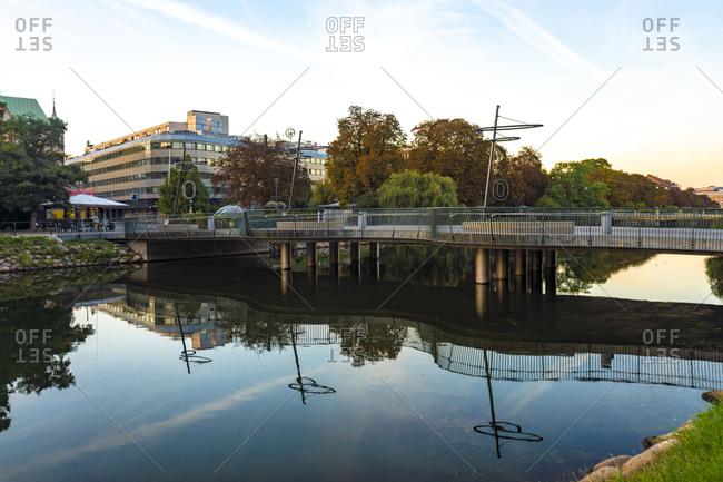 September 2, 2018: Bridge over river in city against sky