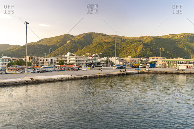 May 26, 2018: Scenic view of city by sea against mountains