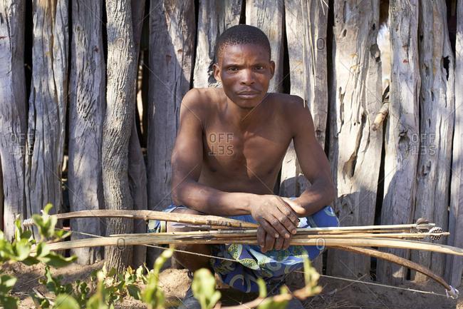 Koisan man with bow and arrow- Chomipapa- Angola