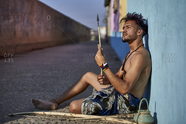 Tribal man with his traditional arch and arrows- Lubango- Angola