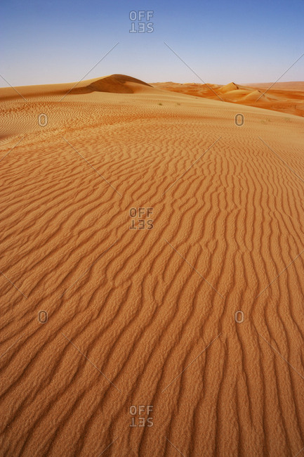 Sultanate Of Oman- Wahiba Sands- Rippled dunes in the desert