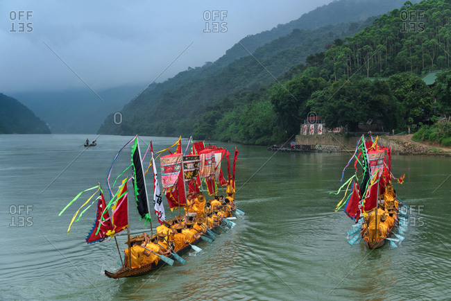 October 12, 2019: The dragon boat custom of Beijing river, Guangdong Province, China