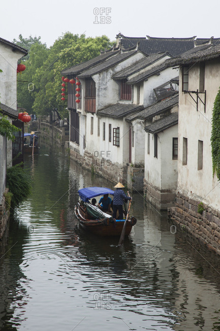October 12, 2019: Paddling boat on canal in Zhouzhuang, Chia