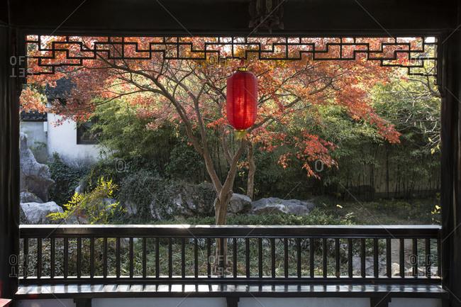 Lamp hanging in a garden in Fuzhou