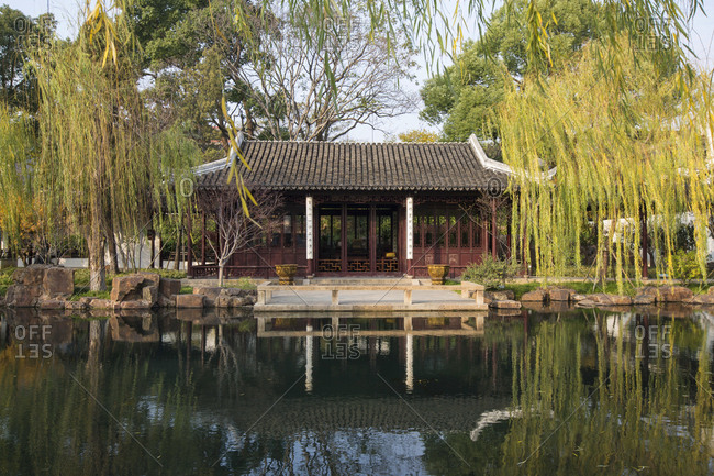 October 12, 2019: Suzhou park building, China