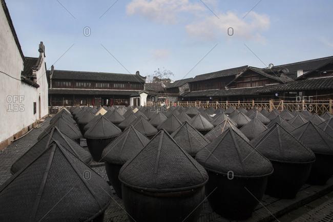 Maotai bins stored outside in Wuzhen