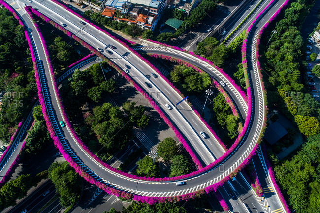 Guangzhou intersection aerial view