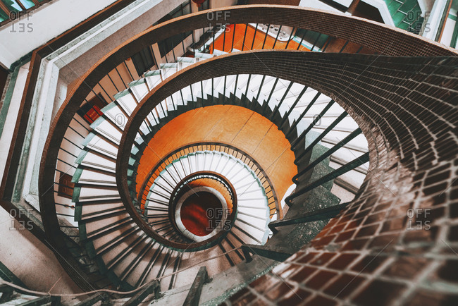Looking down at spiral staircase
