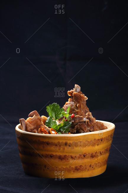 Warm bowl of ribs
