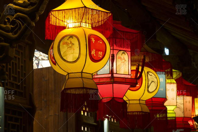 October 12, 2019: Wuzhen lamps at night, China