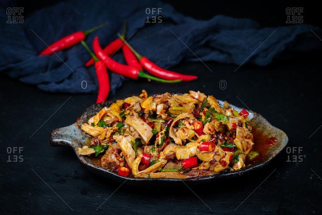 Shredded chicken in chili sauce