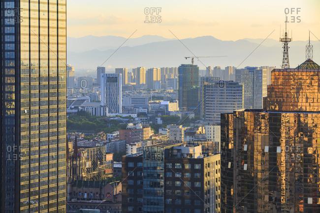 October 12, 2019: Ningbo city at sunset, China