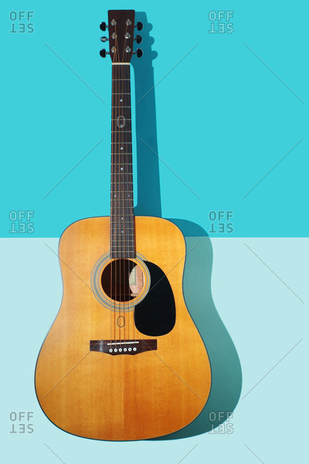 Guitar on blue background