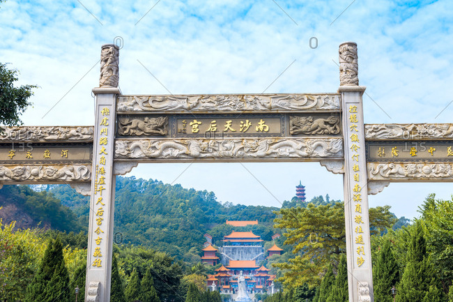 October 12, 2019: The queen of heaven palace, guangzhou nansha district scenery, China
