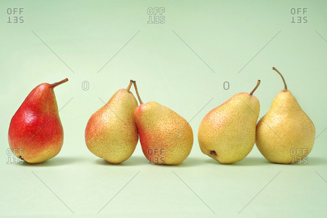 Colorful pears, still life
