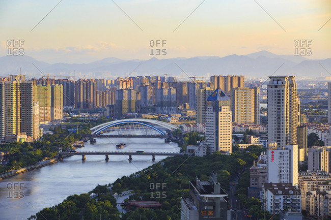 October 12, 2019: View of Ningbo city, China