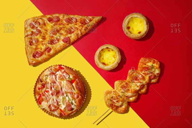 Pizza and egg tarts