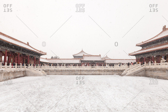 October 12, 2019: The Palace Museum in Beijing Taihe palace, Zhonghe Palace and Baohe Palace, Beijing, China