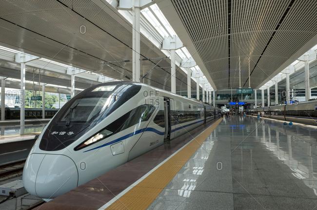 October 12, 2019: Xiamen platform of high speed train, China