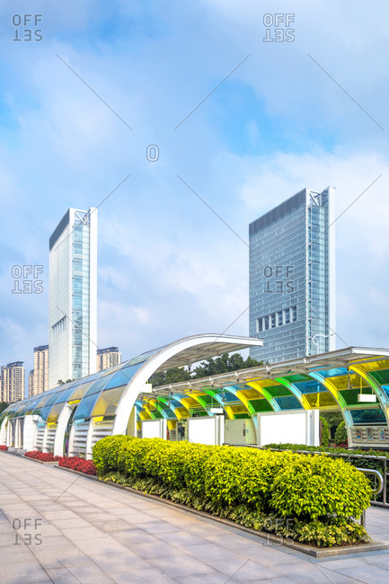 The tram station in guangzhou in guangdong province
