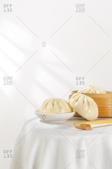 Steamed bun on table