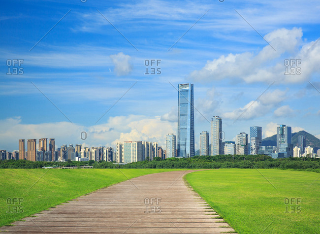 October 12, 2019: Shenzhen nanshan houhai area scenery, China