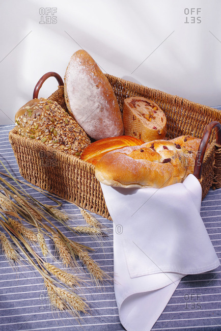 Bread and rolls in basket