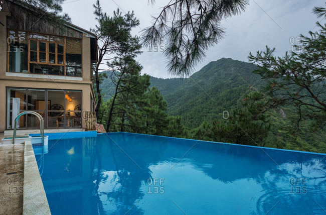 Home stay facility swimming pool in the mountains