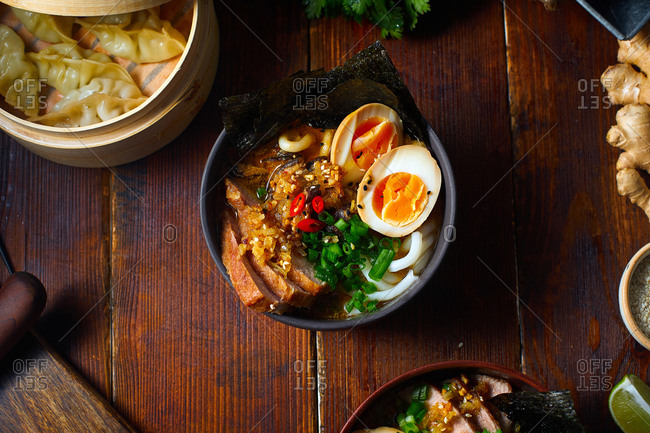 Pork miso ramen with soy-marinated eggs, noodles and leek