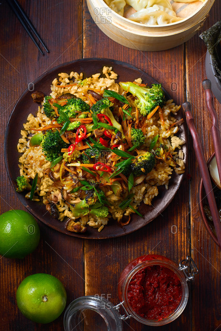 Vegetarian fried rice with shiitake and broccoli. Top view