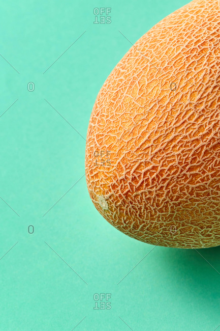 Whole natural organic fresh melon on a biscay green background with copy space. Vegan concept.