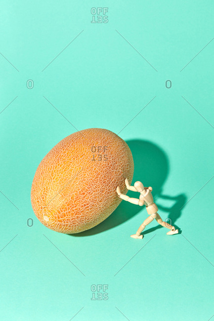 Strong wooden mannequin model are rolling a fresh ripe melon on a green biscay background with hard shadows, copy space.