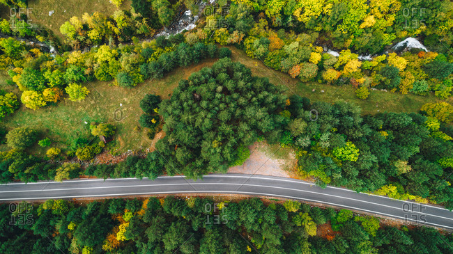 Aerial view over colorful trees and highway in autumn
