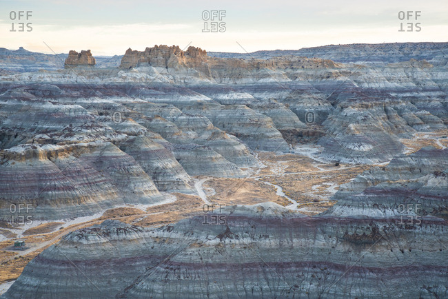 Beautiful canyons at the Angel Peak Scenic Area in northwest New Mexico at dawn