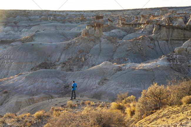 Hiker admiring hoodoo sandstone formations in New Mexico's Bisti/De-Na-Zin Wilderness Area