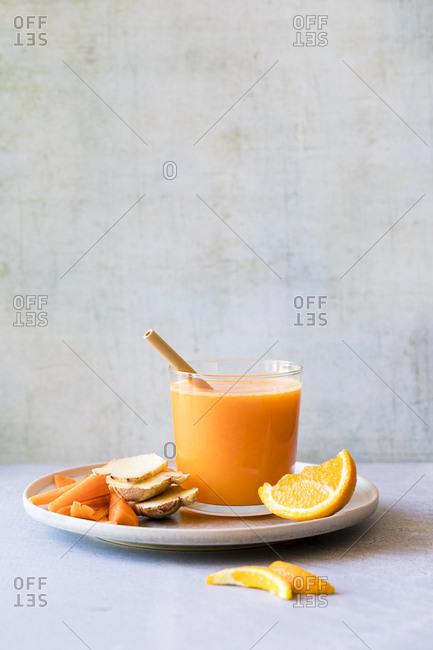 Fresh orange and carrot juice