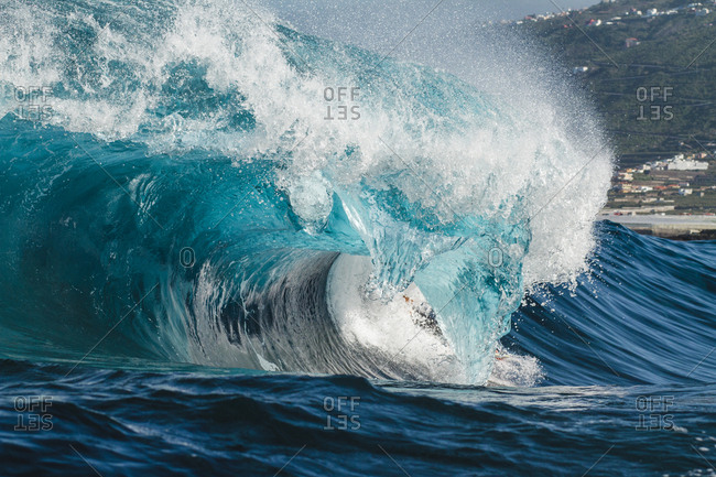 close up shoot of a wave huge breaking