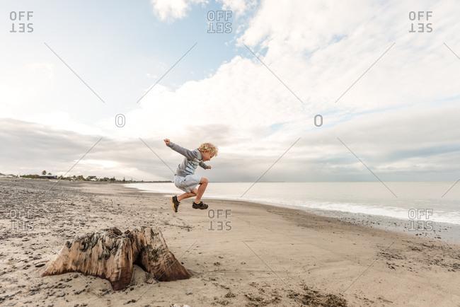 Preschool age boy jumping from tree at beach